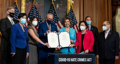 Photo from Congresswoman Grace Meng's Twitter during the Covid-19 Hate Crime Act signing ceremony on May 20, 2021.